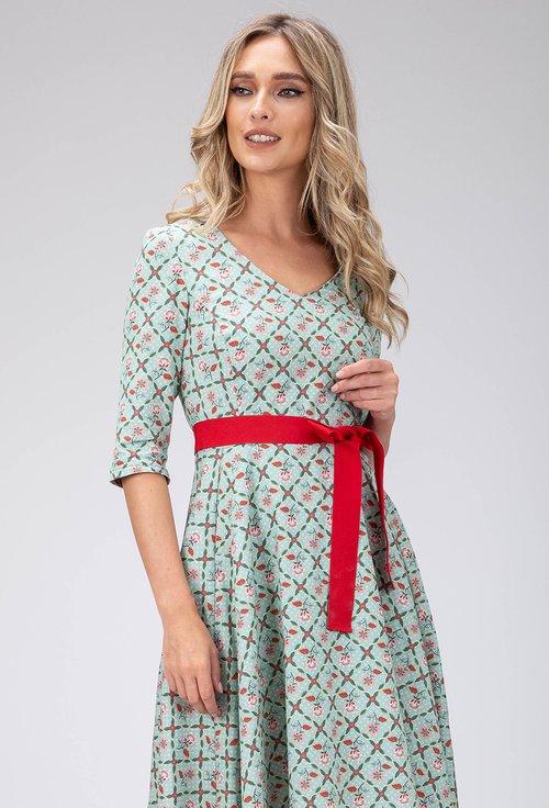 Rochie verde din bumbac cu imprimeu floral si cordon in talie