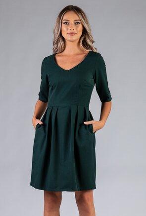 Rochie verde inchis cu buzunare