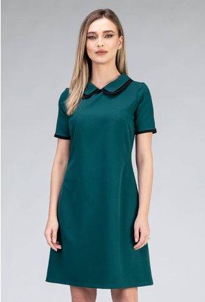 Rochie verde inchis cu guler