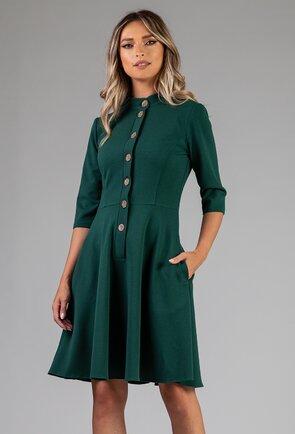 Rochie verde inchis cu nasturi si buzunare