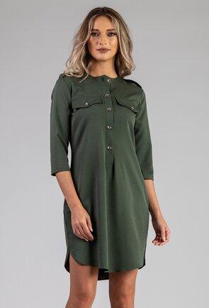 Rochie verde-kaki cu buzunare