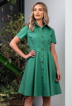 Rochie verde prevazuta cu nasturi in fata