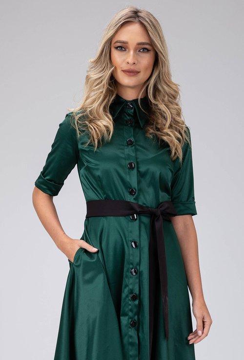 Rochie verde smarald cu nasturi in partea din fata