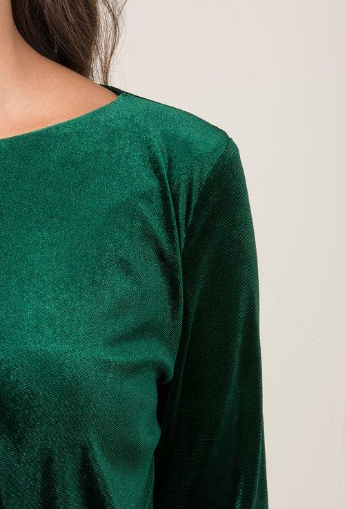 Rochie verde smarald din catifea Emily