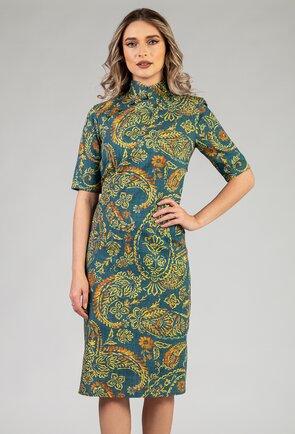 Rochie verde tip chimono cu imprimeu floral
