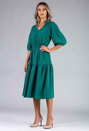 Rochie verde-turcoaz cu maneci bufante