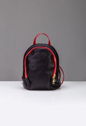 Rucsac negru din piele naturala cu detalii rosii
