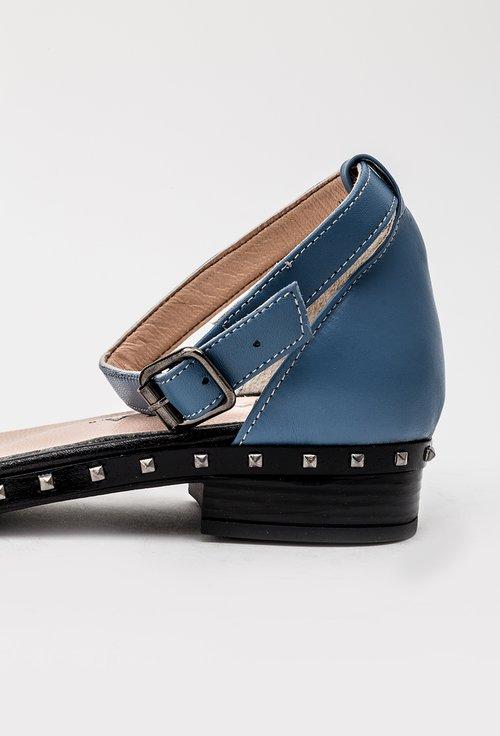 Sandale albastre cu tinte din piele naturala Mila