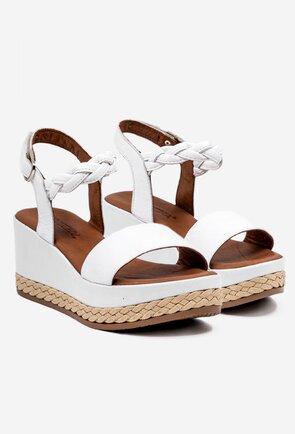 Sandale albe din piele naturala box cu platforma