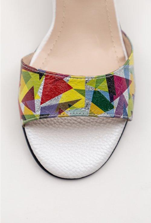 Sandale albe din piele naturala cu imprimeu colorat