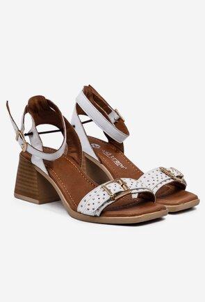 Sandale albe din piele naturala cu tinte