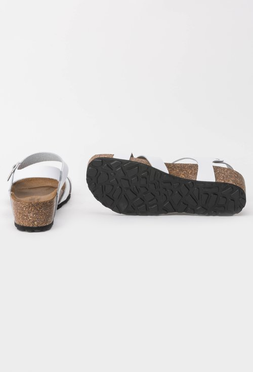 Sandale albe din piele naturala Danielle