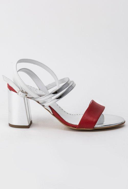 Sandale argintii din piele naturală in combinatie cu roșu și alb Elys