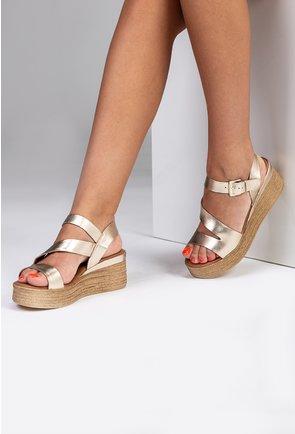 Sandale aurii din piele naturala cu platforma