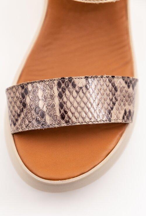 Sandale bej din piele cu talpa ortopedica si snake print