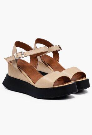 Sandale bej din piele naturala cu talpa cu platforma