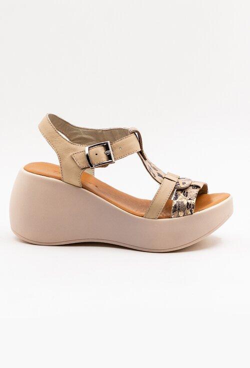 Sandale bej din piele naturala cu talpa ortopedica