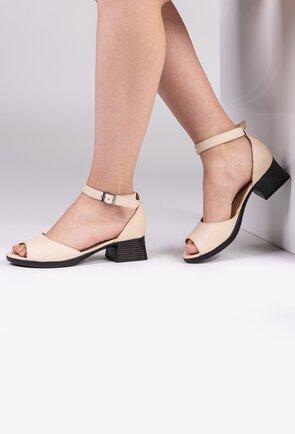 Sandale bej din piele naturala cu toc patrat
