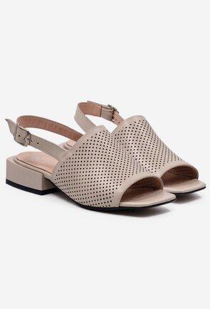 Sandale bej-taupe din piele naturala