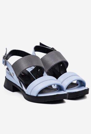 Sandale bleu din piele naturala box cu elastic
