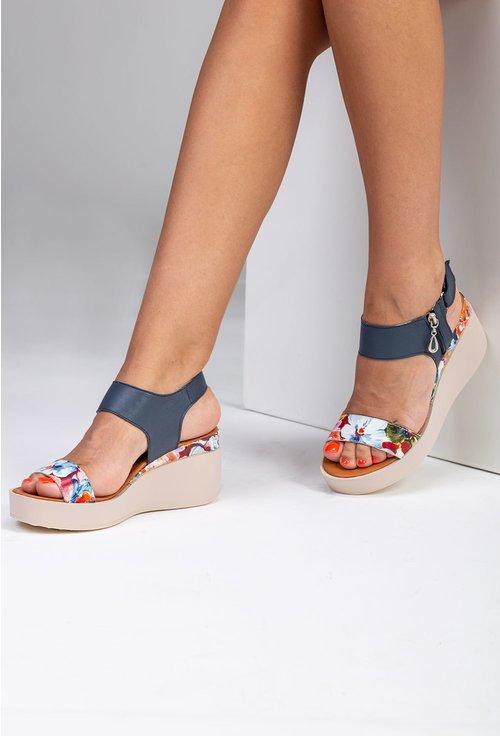 Sandale bleumarin din piele cu talpa ortopedica si imprimeu floral