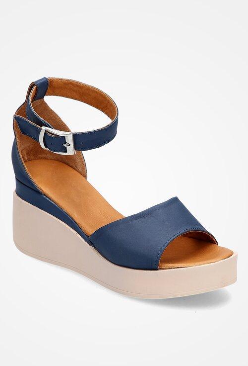 Sandale bleumarin din piele naturala cu platforma