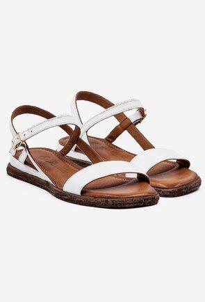 Sandale casual albe din piele