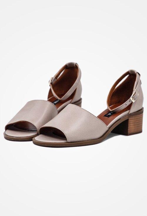 Sandale casual taupe din piele