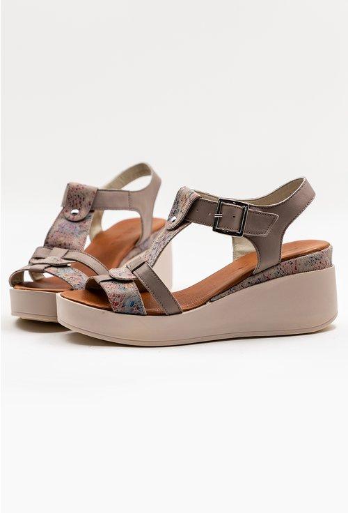 Sandale cu talpa ortopedica taupe din piele naturala