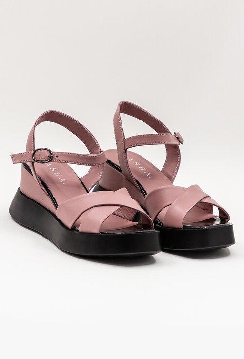 Sandale din piele cu platforma nuanta roz-mov pudra