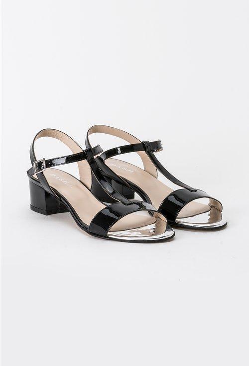 stiluri de moda pentru întreaga familie oferte grozave Sandale cu toc mic, patrat din piele naturala lacuita Blake   Dasha.ro