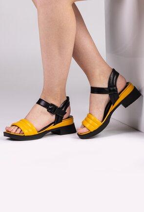 Sandale din piele naturala in nuante de galben si negru