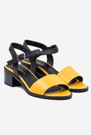 Sandale din piele naturala in nuante de negru si galben