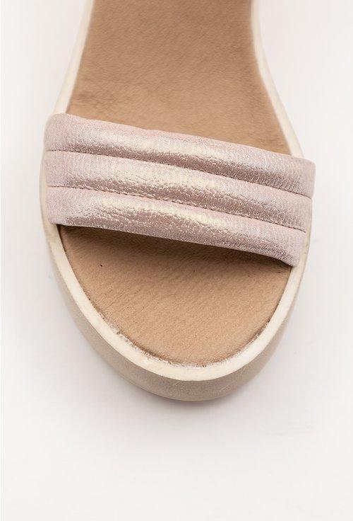 Sandale din piele naturala nuanta roz sidefat cu talpa ortopedica