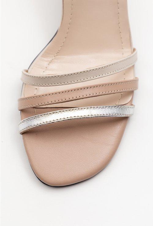 Sandale elegante din piele naturala bej cu barete subtiri