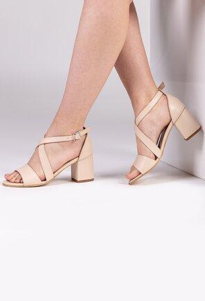 Sandale elegante din piele naturala nuanta nude