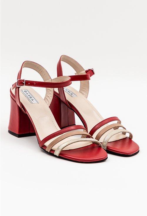 Sandale elegante rosii din piele naturala cu barete subtiri
