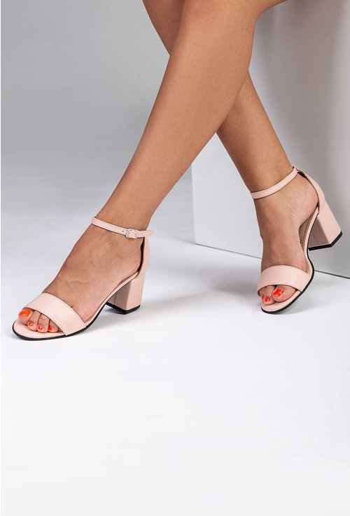 Sandale elegante roz din piele naturala
