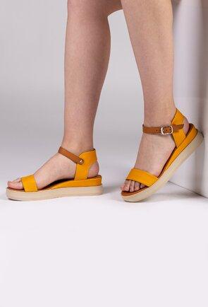 Sandale galbene din piele naturala box