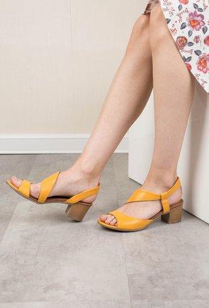 Sandale galbene din piele naturala Corelia