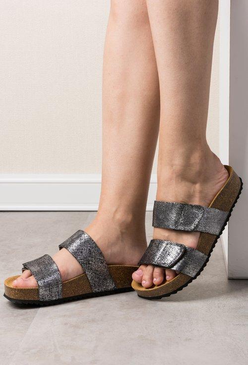 Sandale gri metalizat din piele naturala Aida