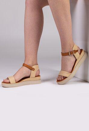 Sandale in nuante de crem si maro din piele