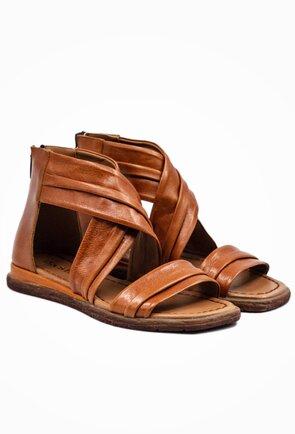 Sandale inalte din piele naturala nuanta maro