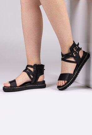Sandale inalte negre din piele naturala