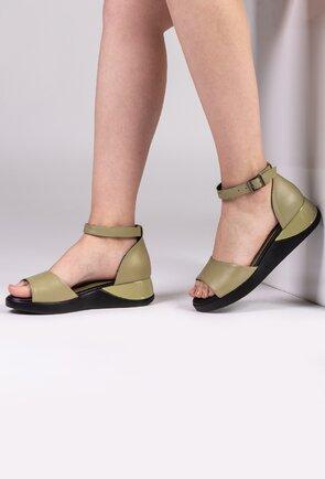 Sandale kaki din piele naturala box cu platforma