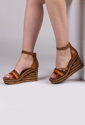Sandale maro cu barete si talpa ortopedica