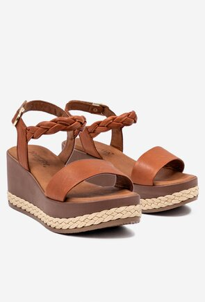Sandale maro din piele cu platforma si detalii impletite