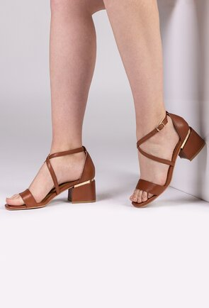 Sandale maro din piele naturala box