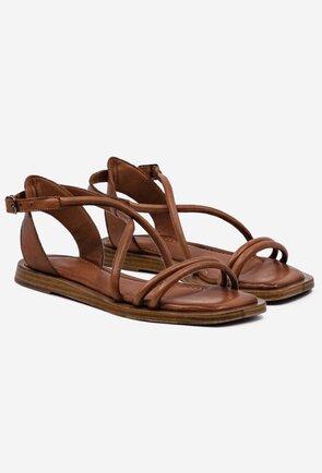 Sandale maro din piele naturala box cu barete subtiri