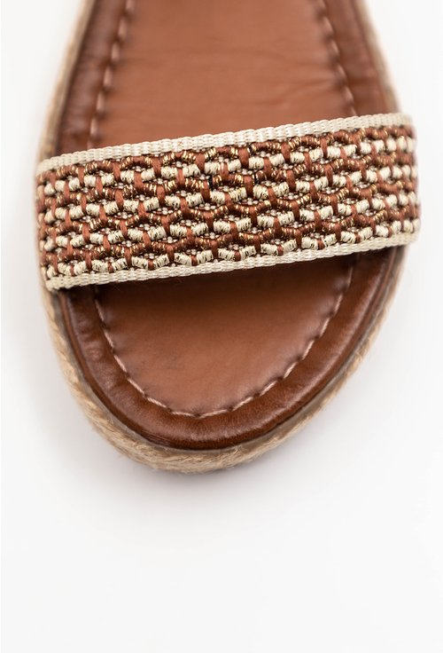 Sandale maro din piele naturala cu bareta tip curea
